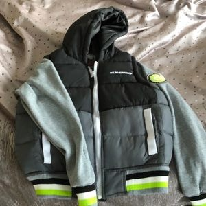Sweatshirt with vest attached and hood